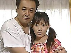 Uber-cute Japanese teenie plows elder stud with her fur covered pussy and it..
