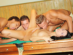 Dark-Haired porked rock-hard on the pool table