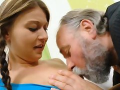 Charming youthfull gal gets luvs intercourse with senior banger