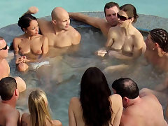 Jp and wife take a dip in the red-hot tub