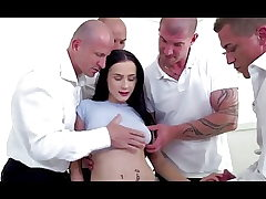 Bratty stepdaughter double penetration gangbanged by parent and all his friends