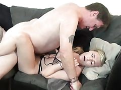 Horny blonde female creampied by step-father