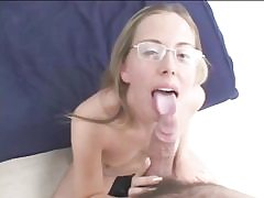 Nerdy light-haired in glasses sucks and fucks bone